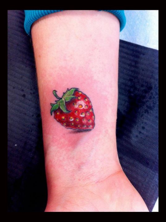 Ultimate Strawberry Fruit Tattoo Picture For Girls
