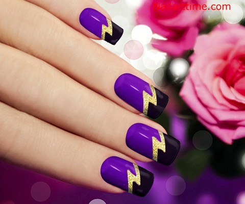 Unique Black French Tip Nails With Purple Color Design