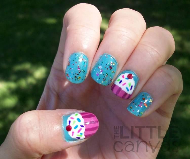 Unique Colorful And Ice Cream Birthday Nail Art