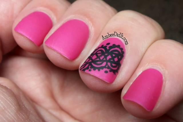Unique Design With Black Ink With pink Ink Accent Nail Design