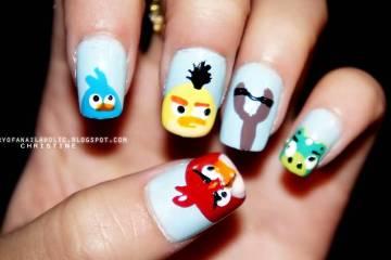 Unique Sky Blue Color Angry Bird Nail Art Design