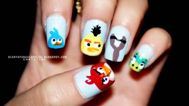 Unique Sky Blue Color Angry Bird Nail Art Design