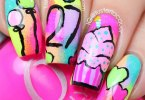 Unqiue Ice Cream Cake In Pink Color Birthday Nails