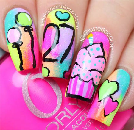 Unique Ice Cream Cake In Pink Color Birthday Nails
