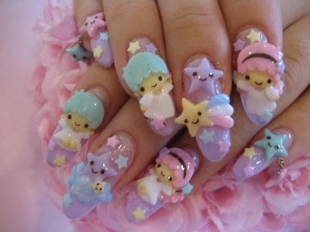 Very Cute Teddy Nail Art 3D Rose Flower Nail Art