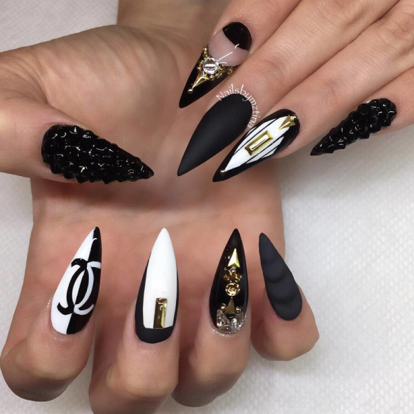 Very Sharp And Long Black And White Nails