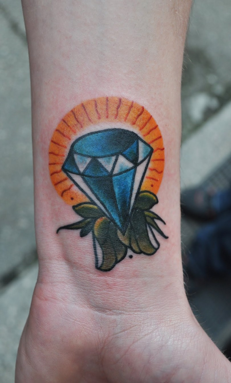 Weird Blue Diamond Tattoo On Wrist For Boys