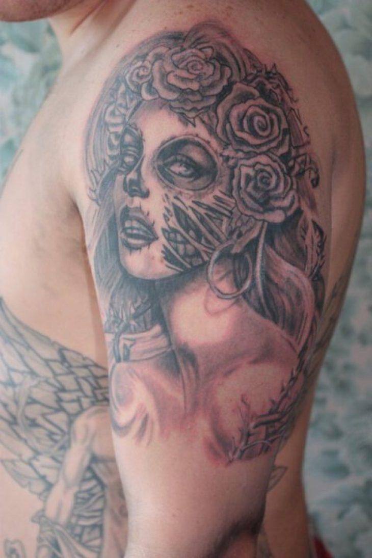 Weird Half Sleeve Clown Girl Tattoo For Boys