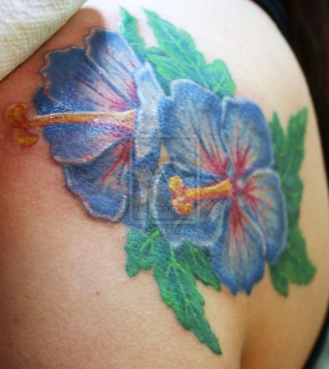 Weird Hibiscus Tattoo On Shoulder For Boys
