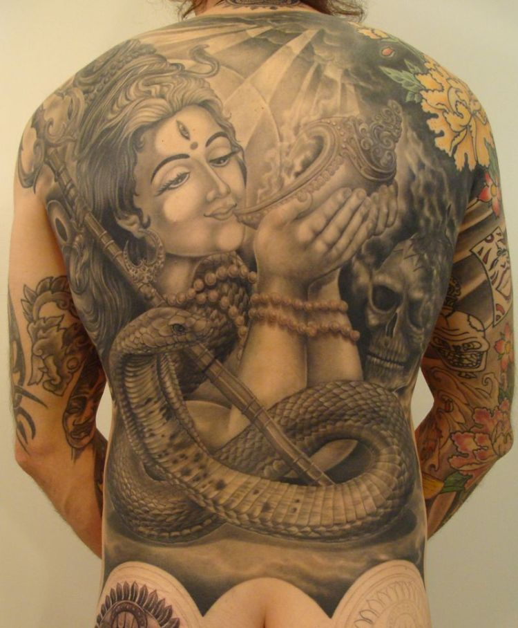 Weird Shiva Tattoo For Full Back For Boys