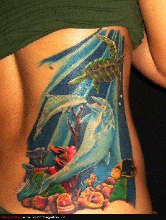 Weird Swimming Turtle Fish n Dolphin Tattoo On Back For Girls