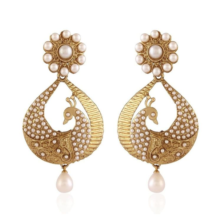 White Gold Plated Peacock Shaped Pearl Dangle & Drop Earring 01