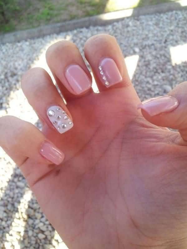 Wonderful Baby Pink Paint With Flower Accent Nail Art