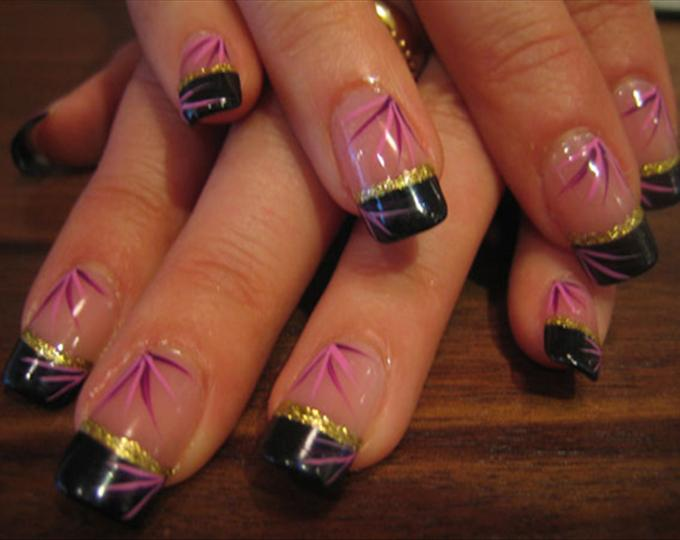 Wonderful Black French Tip Nails With Plant Design