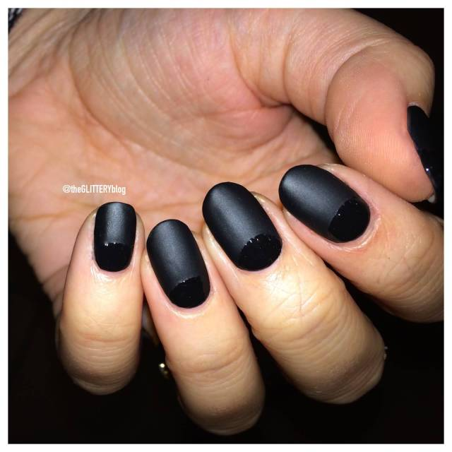Wonderful Black Half Moon Nail With Full Black