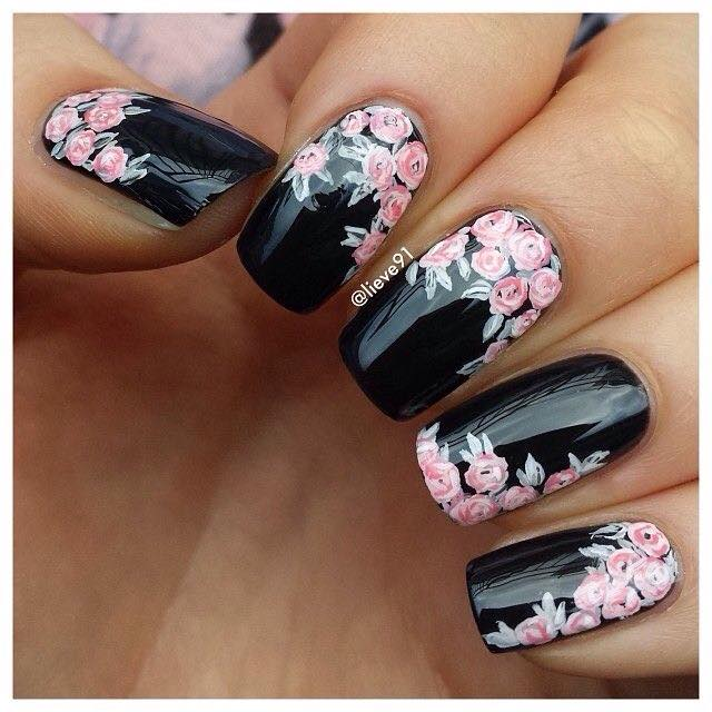 Wonderful Black Nail Art Design With Pink Flower