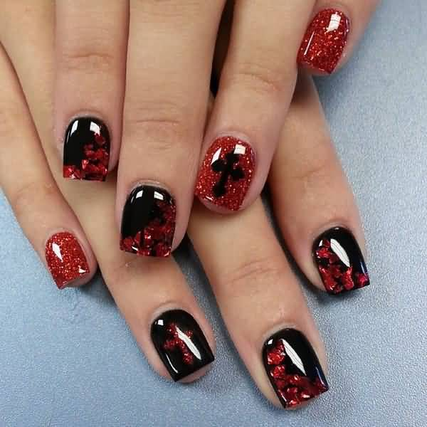 Wonderful Black Nail Art Design With Red Sparkling Nail Paint