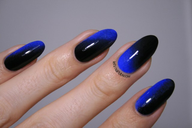 Wonderful Blue Nail With Black Nail Paint