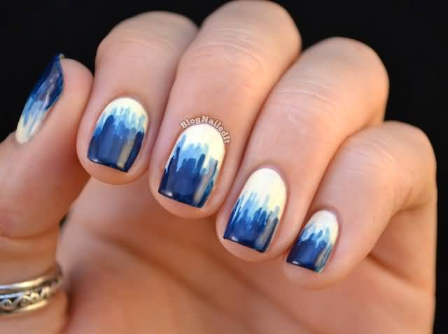 Wonderful Blue Nails With Dark Nails