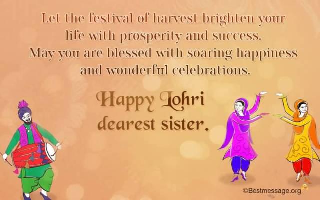 Wonderful Celebration Happy Lohri Wishes Message For Dear Sister
