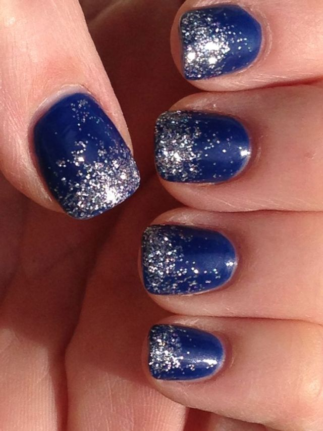 Wonderful Sparkling Silver Color Paint On Blue Nails