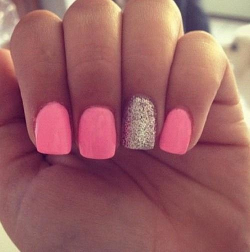 fantastic Baby Pink With Sil;ver Glitter Accent Nail Art