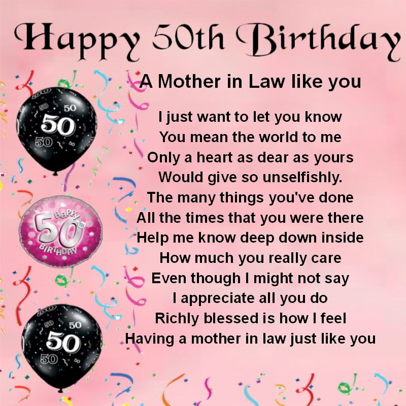 happy 50th birthday a mother in law like you...