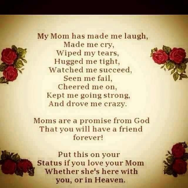 my mom has made me laugh made me cry, wiped my tears, hugged me tight....