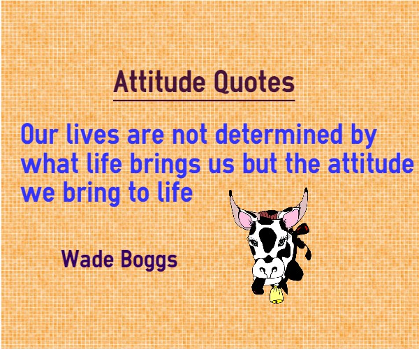 our lives are not determined by what life brings us but the attitude we bring to life. wade boggs