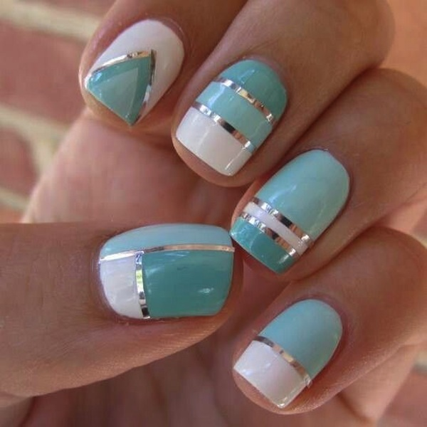 Amazing Blue And Silver Nails