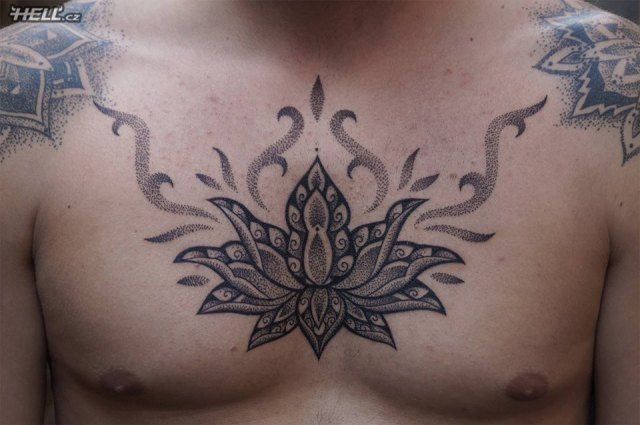 Beautiful Hell Tattoo On Chest For Boys