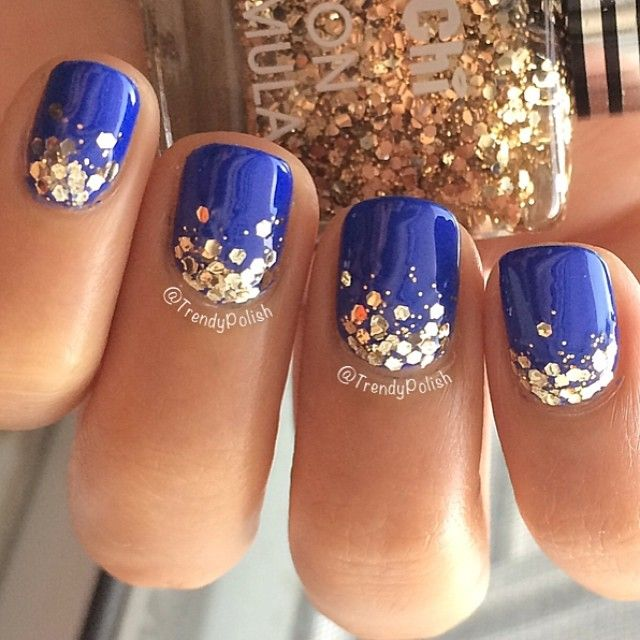 Best Blue Nails WIth Half Golden