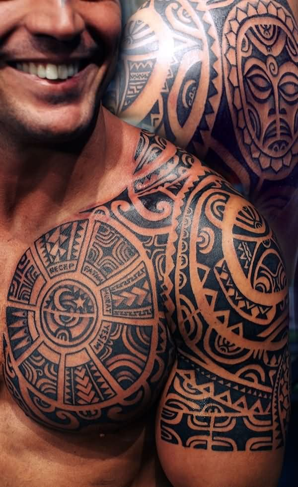 Crazy Aztec Tattoo On Shoulder For men