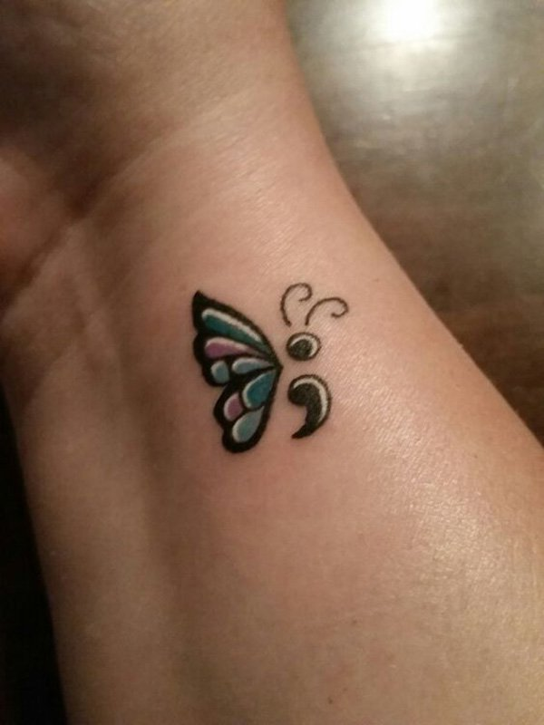 Crazy Semicolon Tattoo On Hand For Girls
