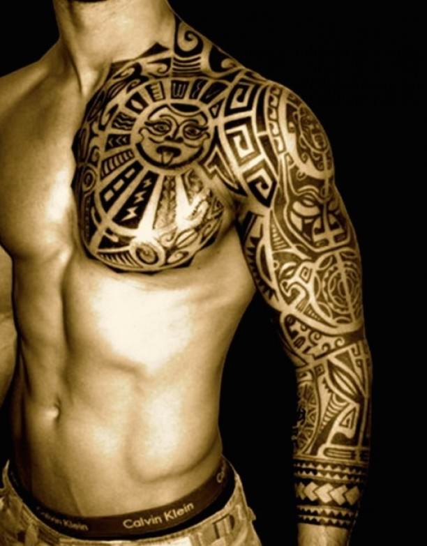 Creative Aztec Tattoo on Shoulder for Boys