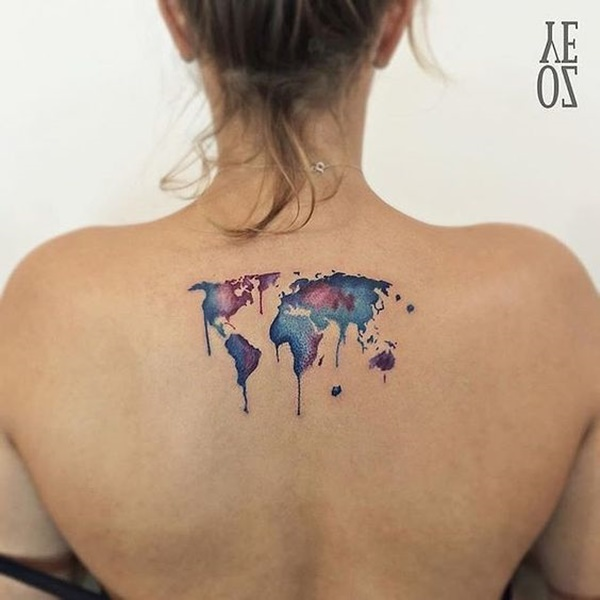 Cute World Map Tattoo On Back For Girls