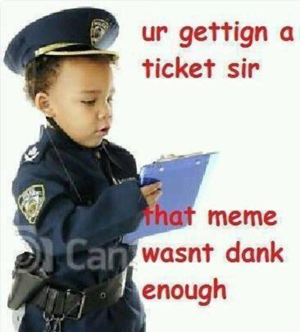 Dank meme ur getting a ticket sir that meme wasn't dank enough