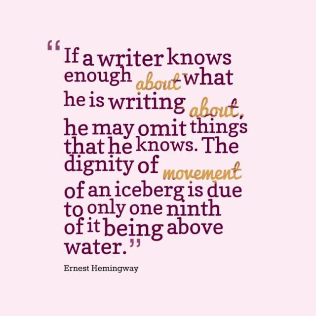Dignity Sayings if a writer knows enough about what he is writing about