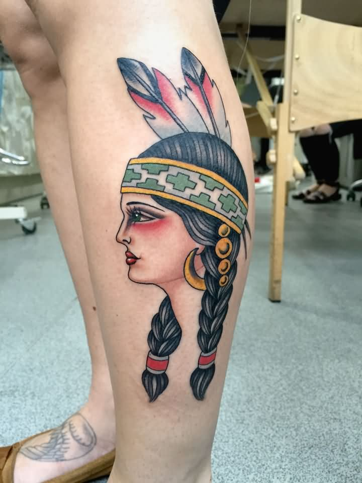 Extremely Hell Tattoo On leg For Women