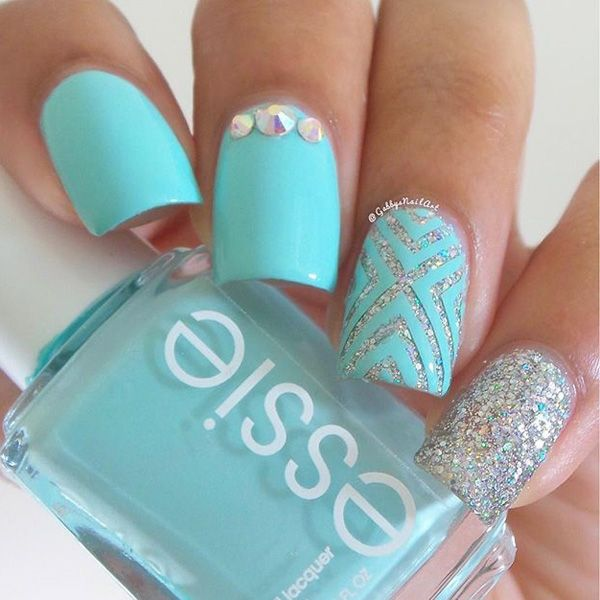 Fabulous Blue And Silver Nails With Cross