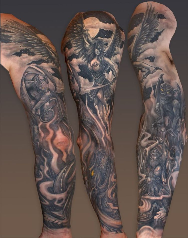 Great Hell Tattoo On Arm For Boys