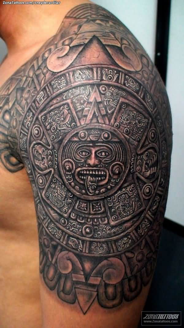 Groovy Aztec Tattoo on Shoulder for men