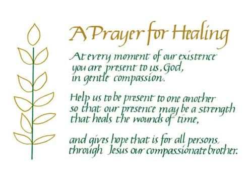 Healing Sayings a prayer for healing at every