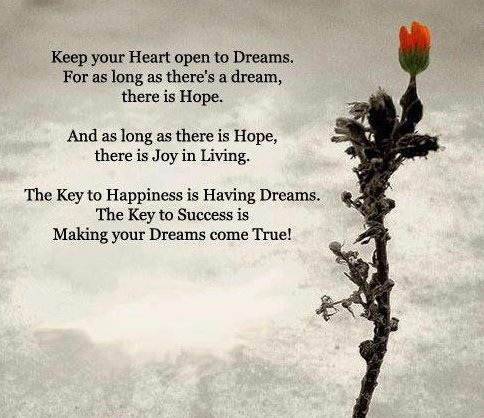 Hope Quotes keep your heart open to dreams for as long as there's dream
