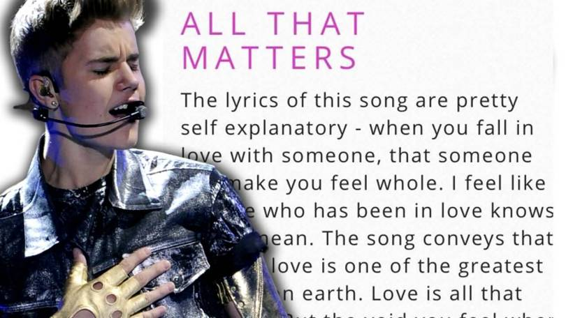 Justin Bieber Sayings all that matters the lyrics