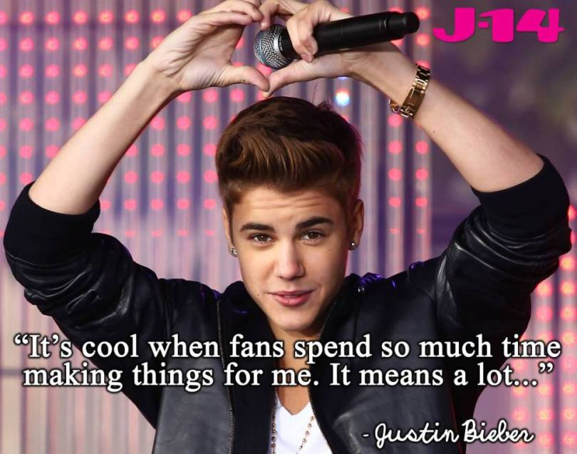 Justin Bieber Sayings it's cool when fans spend so much time