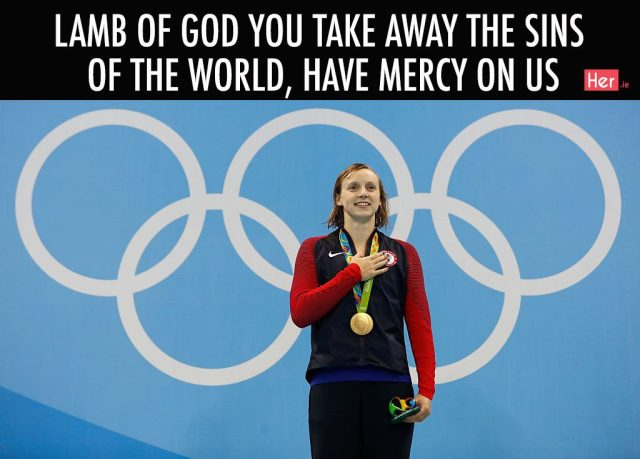 Lamb of god you take away the sings of the world, have mercy on us Olympics Meme