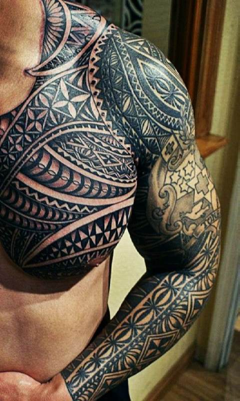 Lovely Aztec Tattoo on Shoulder And Arm