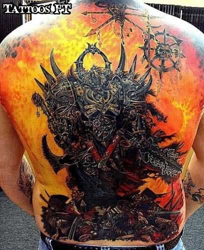 Mind Blowing Hell Tattoo For Back With yellow red color