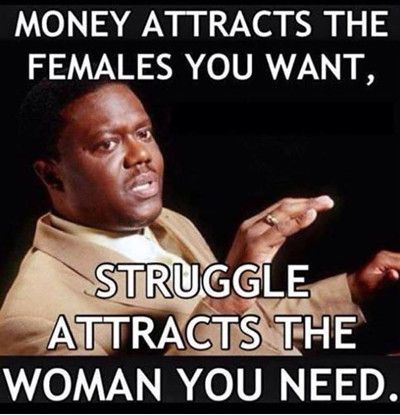 Money attracts the females you want struggle attracts Money Meme